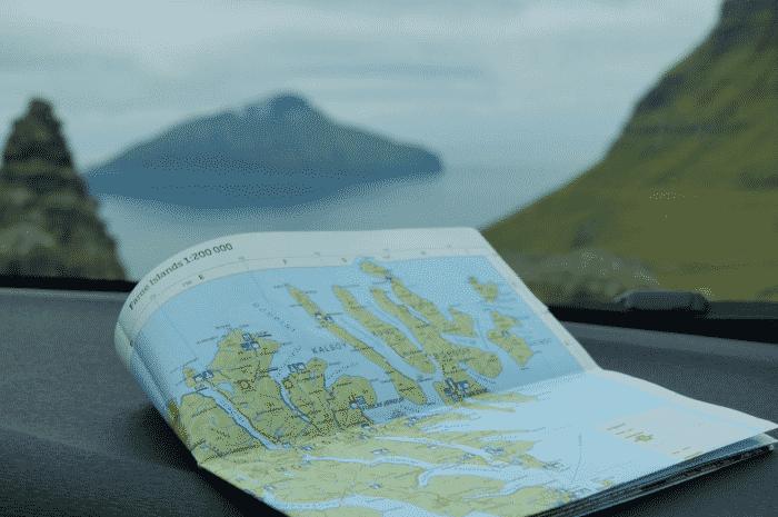 Map in car Faroe Islands