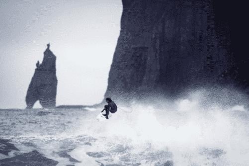 surfer in the Faroe Islands