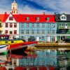 Torshawn city, the capital of The Faroe Islands, Denmark. Vestaravag harbor in Torshavn with its boats and colorful buildings